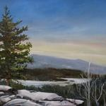 "Oil on canvas 9""x 12"" ""Winter on North and South Lake"""