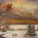 "Oil on linen ""Winter in Kiskatom"" 24""x 36"" $2000"